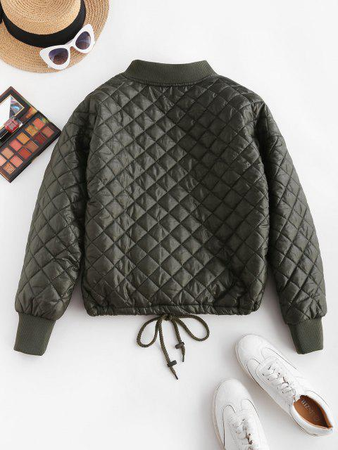 Drawstring Hem Zippered Front Quilted Jacket - ديب غرين XL Mobile