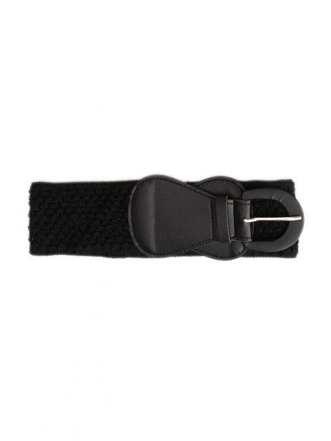 latest Hollow Dress Buckle Elastic Cinch Belt - BLACK  Mobile