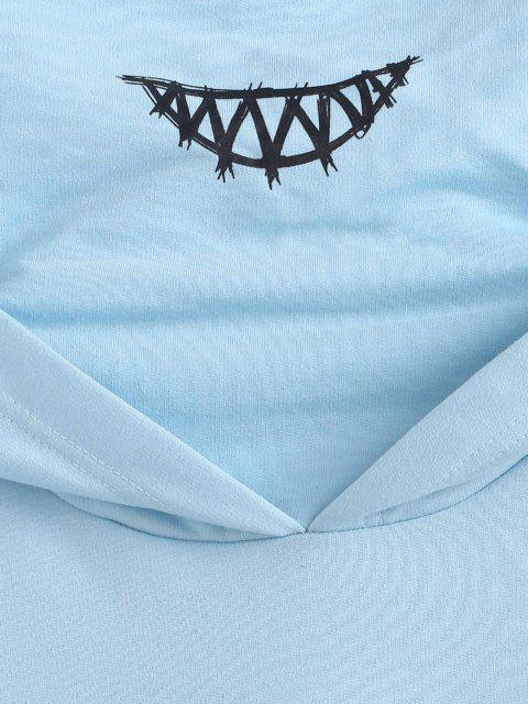 Känguru Tasche Buchstaben Applique Doppelte Kragen Hoodie - Hellblau 2XL Mobile