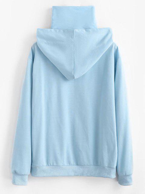 Camisola de Canguru com Aplicação de Letra de Bolso - Azul claro M Mobile