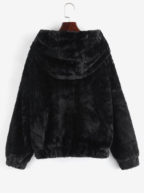 outfit Pockets Fuzzy Faux Fur Hoodie Coat - BLACK M Mobile