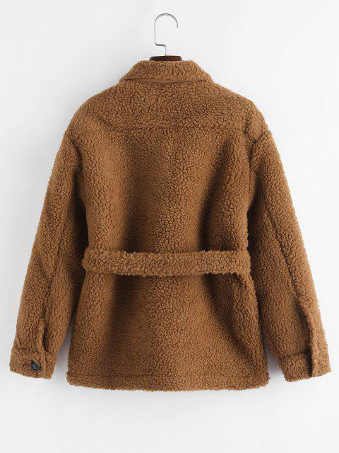 Faux Shearling Belted Pocket Teddy Jacket - قهوة S Mobile