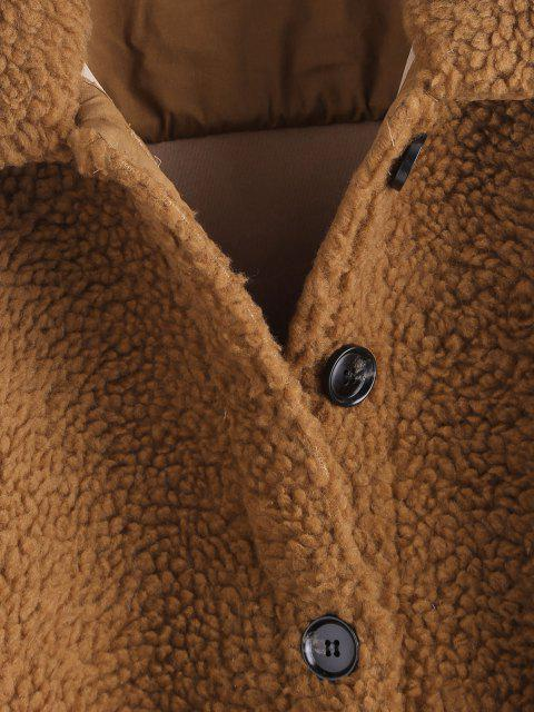 outfit Faux Shearling Belted Pocket Teddy Jacket - COFFEE S Mobile