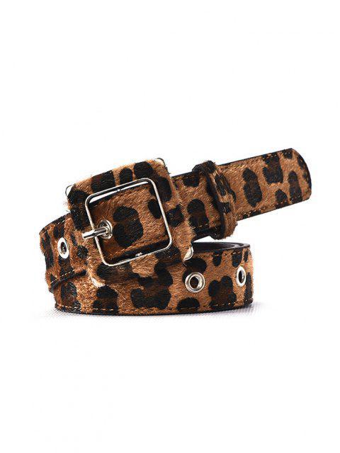 unique Leopard Print Fuzzy Buckle Belt - LEOPARD  Mobile