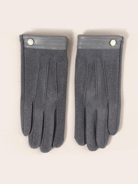 women Button Solid Slip On Gloves - SMOKEY GRAY  Mobile