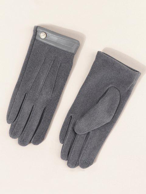 Knopf Einfarbige Schlüpfende Handschuhe - Rauchiges Grau  Mobile