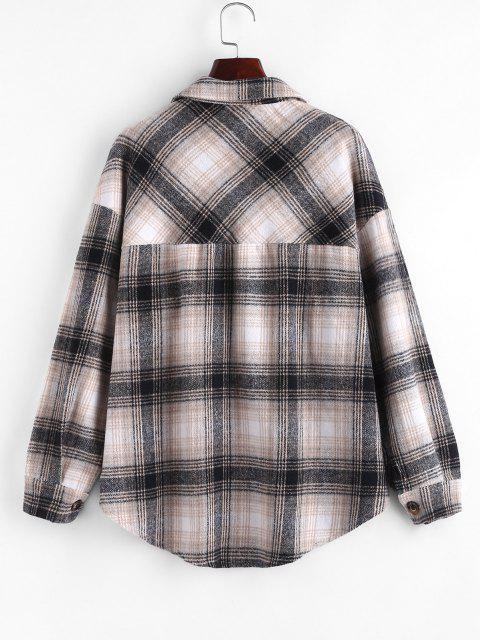ladies Plaid Flannel Shacket - MULTI XL Mobile