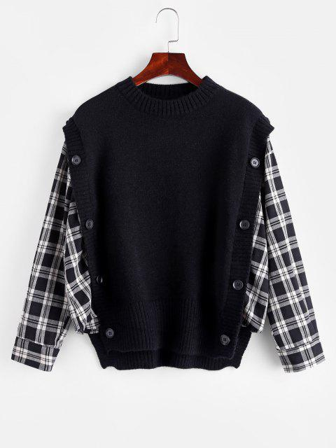 unique Plaid Mock Button Oversized Twofer Sweater - BLACK ONE SIZE Mobile