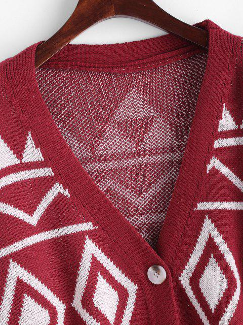 trendy Button Up Geo Graphic Oversize Cardigan - RED ONE SIZE Mobile