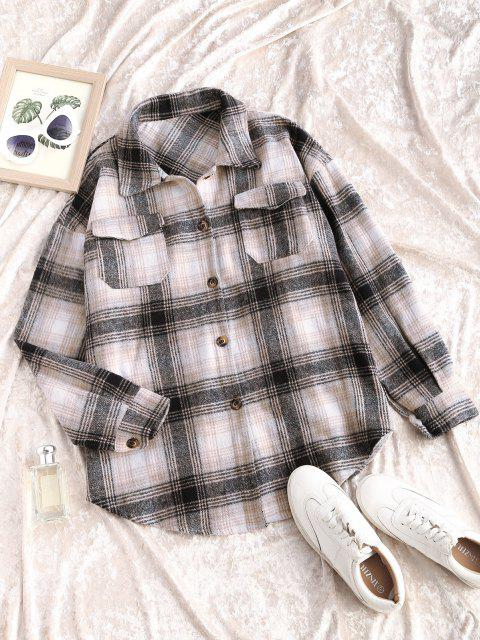 fashion Plaid Flannel Shacket - MULTI S Mobile