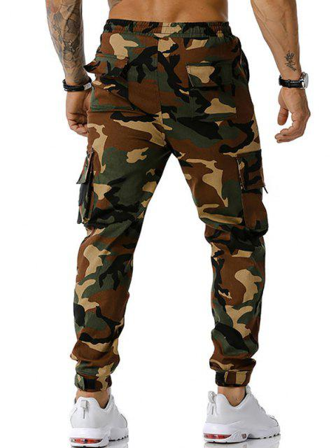 hot Camouflage Print Text Applique Cargo Pants - ARMY GREEN L Mobile
