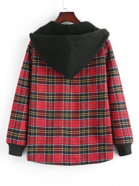 fashion Plaid Fleece Lined Hooded Shirt Jacket - RED M Mobile