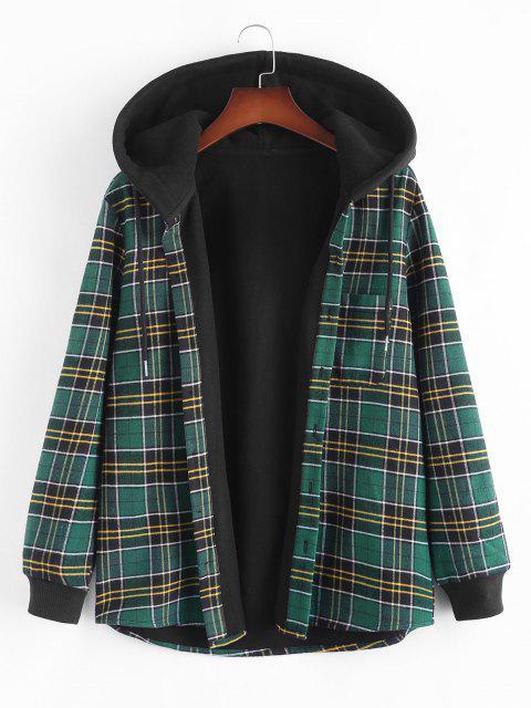 unique Plaid Fleece Lined Hooded Shirt Jacket - DEEP GREEN L Mobile