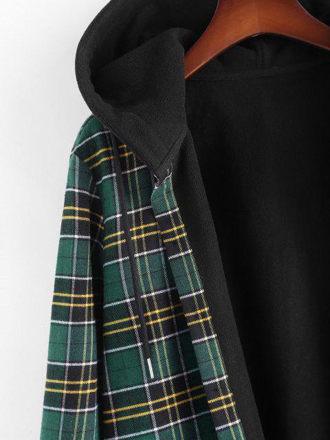 ladies Plaid Fleece Lined Hooded Shirt Jacket - DEEP GREEN M Mobile