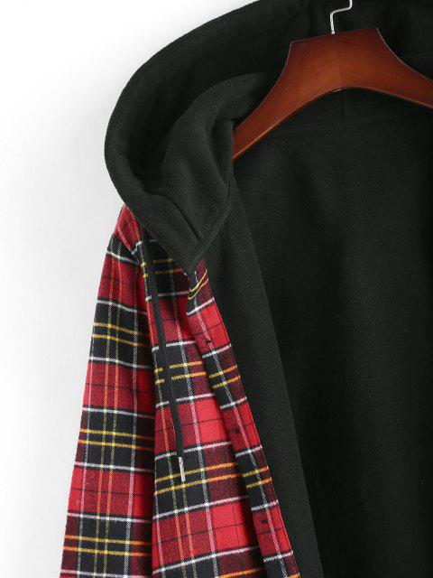 unique Plaid Fleece Lined Hooded Shirt Jacket - RED XL Mobile