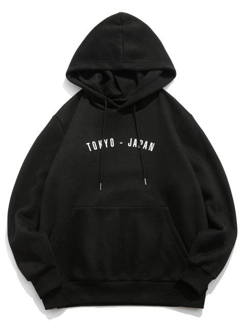 trendy ZAFUL Letter Tiger Printed Fleece Hoodie - BLACK L Mobile