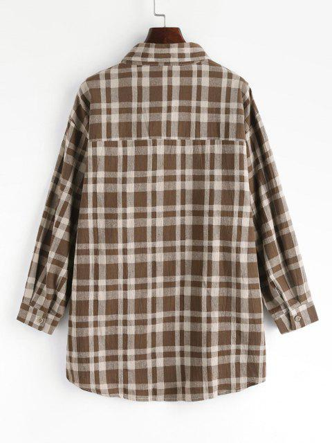 Plaid Drop Shoulder Button Up Shacket - قهوة M Mobile