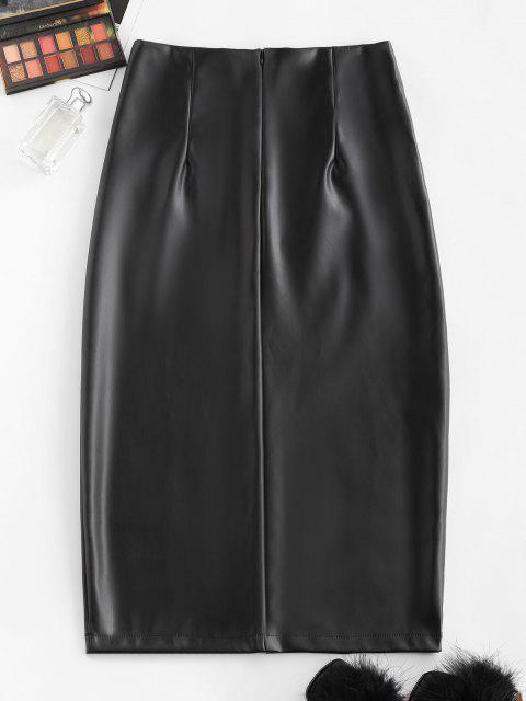 Front Slit Back Zipper Faux Leather Skirt - أسود S Mobile