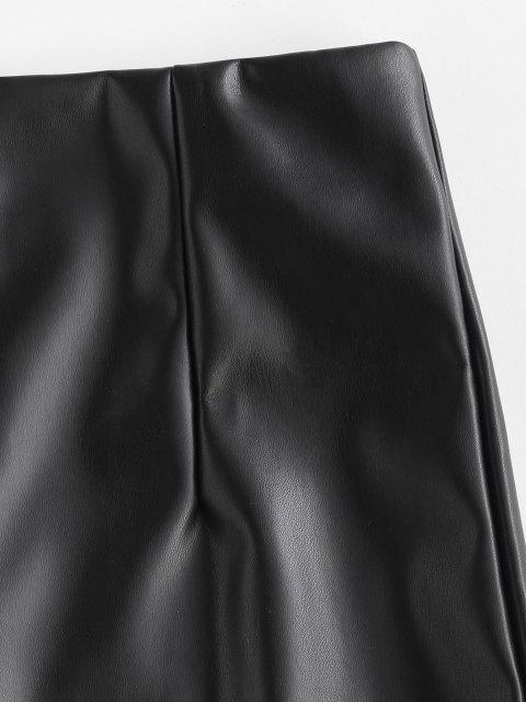 online Front Slit Back Zipper Faux Leather Skirt - BLACK S Mobile