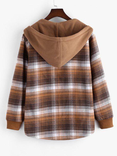 Hooded Button Up Plaid Print Pocket Fleece Jacket - بنى XL Mobile