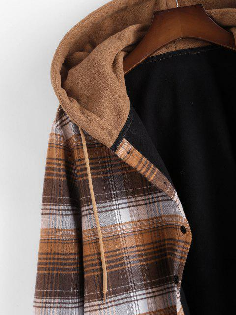online Hooded Button Up Plaid Print Pocket Fleece Jacket - BROWN S Mobile