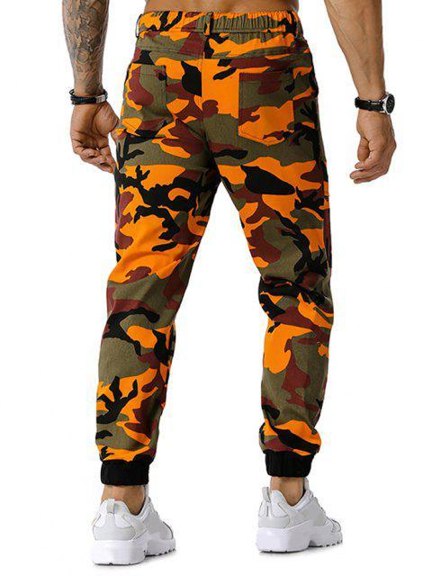 latest Camouflage Print Drawstring Cargo Pants - ORANGE S Mobile