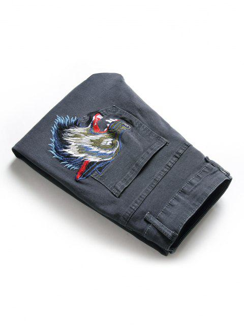 ladies Zip Fly Wolf Embroidery Scratch Jeans - DARK SLATE GREY 36 Mobile