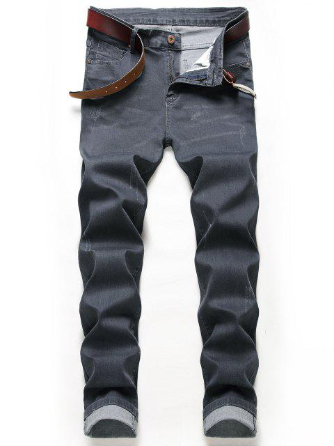 sale Zip Fly Wolf Embroidery Scratch Jeans - DARK SLATE GREY 32 Mobile