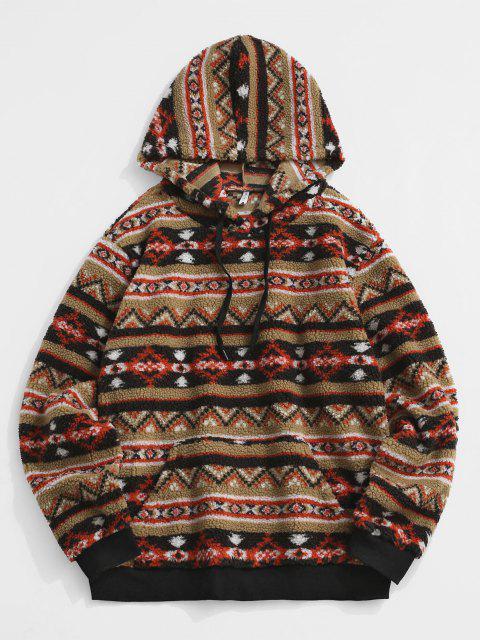 Front Pocket Tribal Print Teddy Hoodie - القهوة الخفيفة XL Mobile