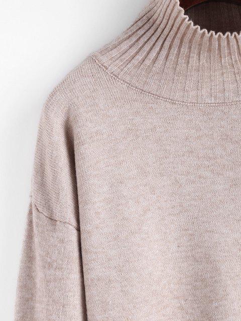 Geripptet Trichterhals Pullover mit Abfallender Schulter - Licht Kaffee Eine Größe Mobile