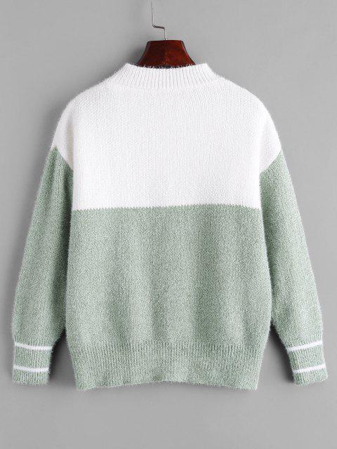 ファーウサギ刺繍配色セーター - 緑 ワンサイズ Mobile