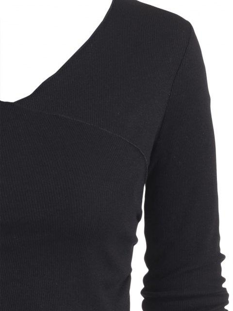 affordable ZAFUL Ribbed Fitted Surplice T Shirt - BLACK M Mobile