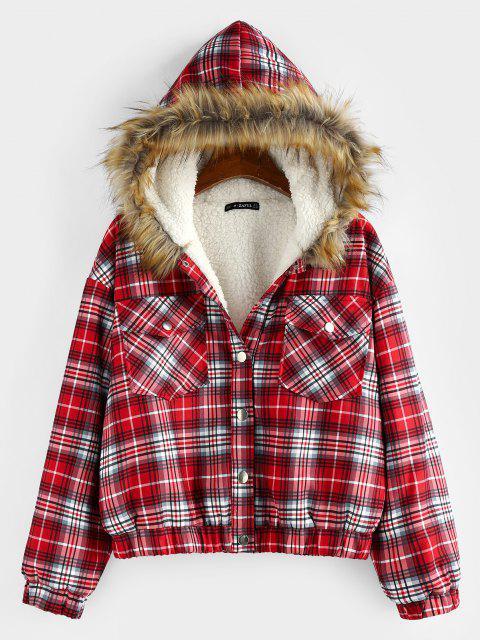 ZAFUL Plaid Drop Shoulder Pocket Teddy Lined Parka Coat - أحمر M Mobile