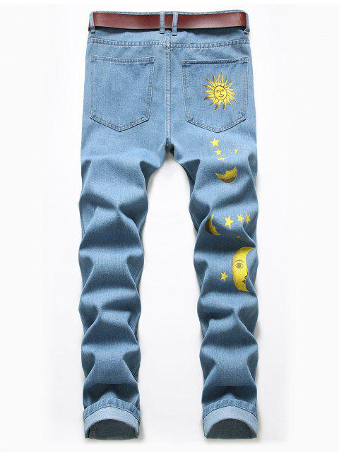 shops Cartoon Sun Moon And Star Print Ripped Jeans - BLUE KOI 38 Mobile