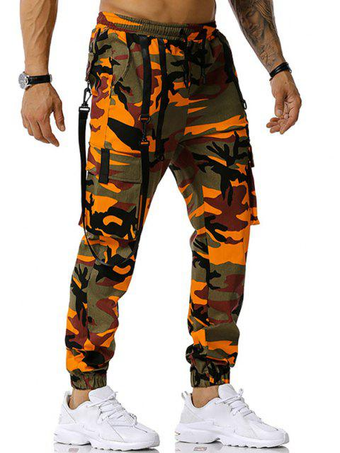 women Camouflage Print Hook Strap Cargo Pants - ORANGE XL Mobile