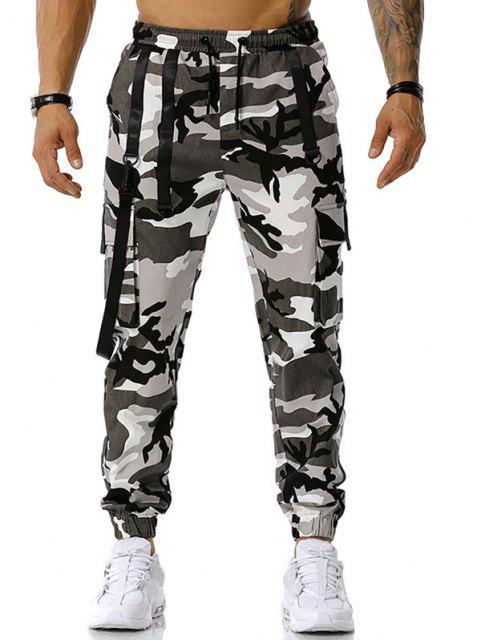 Camouflagedruck Haken Gurt Cargo Hose - Grau XL Mobile