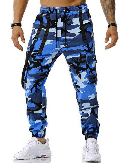 Camouflagedruck Haken Gurt Cargo Hose - Blau XXXL Mobile