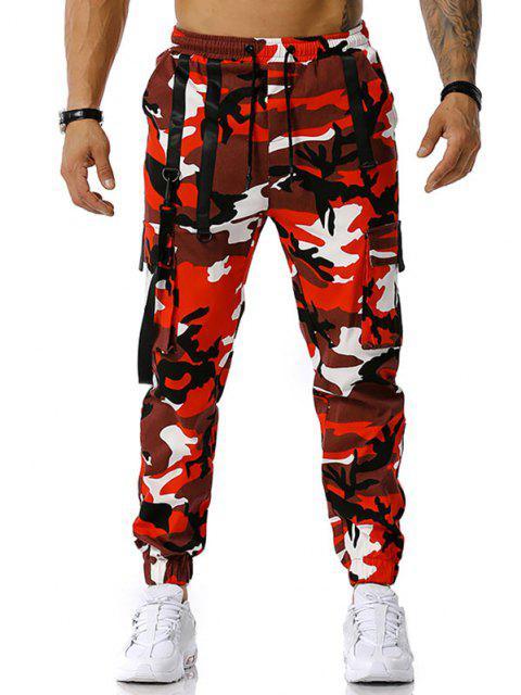 Pantalones Diseño Camuflaje Militar - Rojo L Mobile