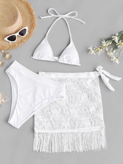 ZAFUL Maillot de Bain Bikini Côtelé à Coupe Haute 3 Pièces avec Sarong en Dentelle - Blanc L Mobile