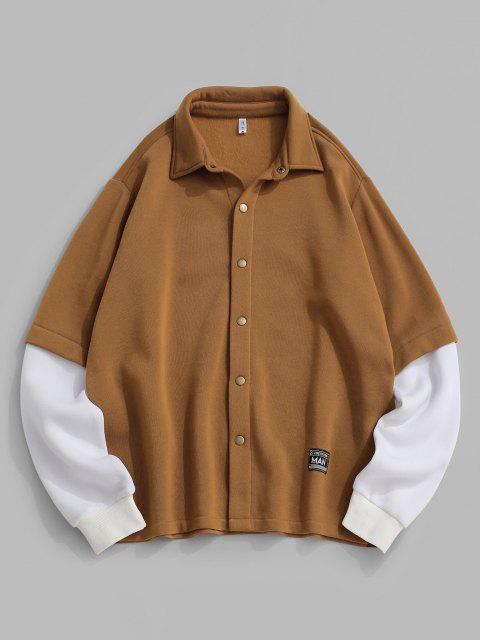trendy ZAFUL Contrast Doctor Sleeve Letter Applique Fleece Jacket - COFFEE XS Mobile