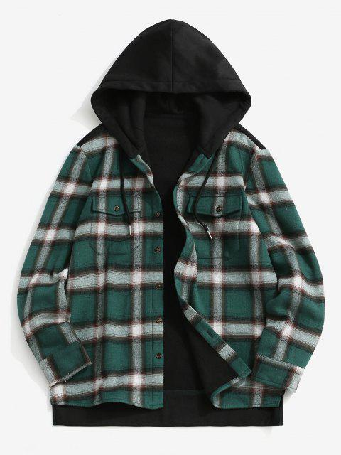 Fleece Lined Plaid Panel Pocket Hooded Shirt Jacket - أسود S Mobile