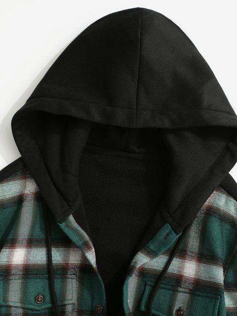 Vlies Gefütterte Karierte Panel Tasche Kapuze Hemd Jacke - Schwarz S Mobile