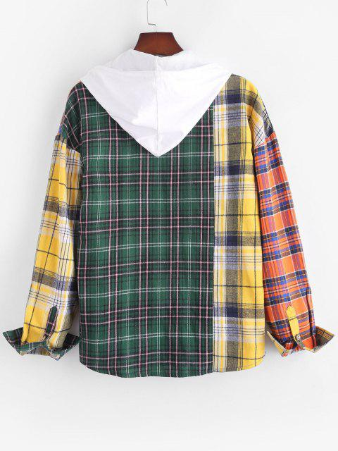 unique Contrast Plaid Pattern Button Up Pocket Shirt - MULTI XL Mobile