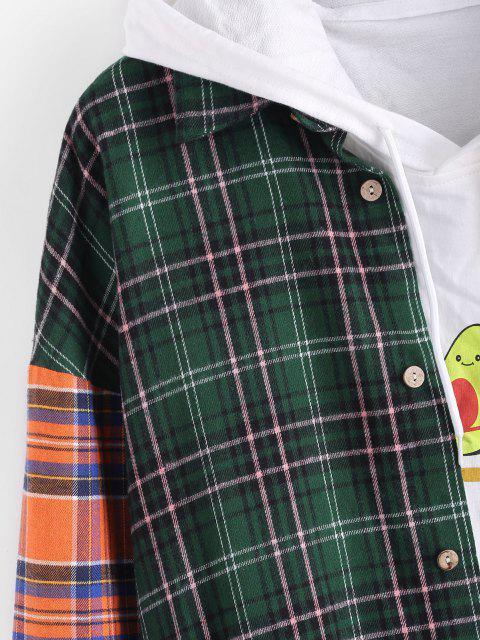 lady Contrast Plaid Pattern Button Up Pocket Shirt - MULTI 3XL Mobile