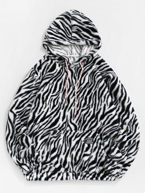 online Zebra Print Fluffy Hoodie - BLACK L Mobile