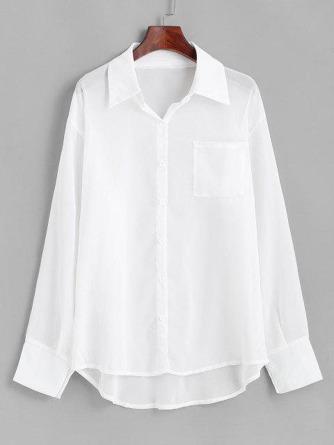 women Chiffon See Thru Drop Shoulder Shirt Cover Up - WHITE L Mobile
