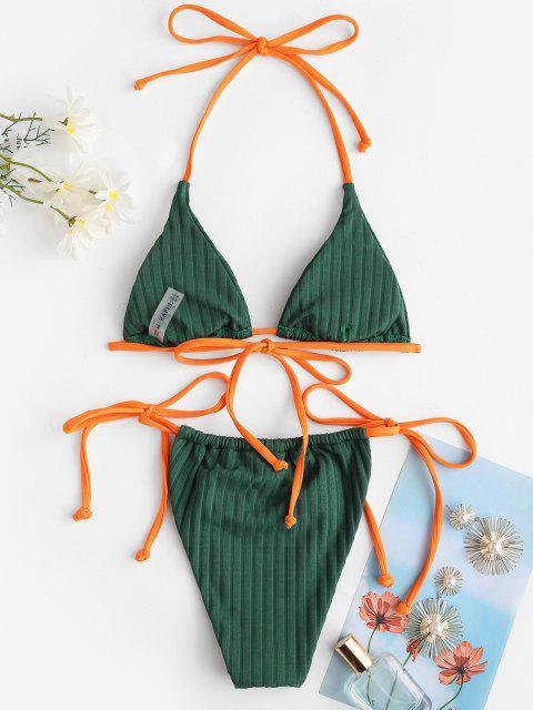 new ZAFUL Halter Wide Ribbed Neon Straps Tie String Bikini Swimwear - DEEP GREEN L Mobile
