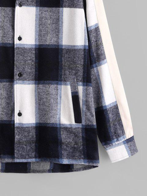 fashion Button Up Plaid Patterned Flannel Jacket - MULTI M Mobile