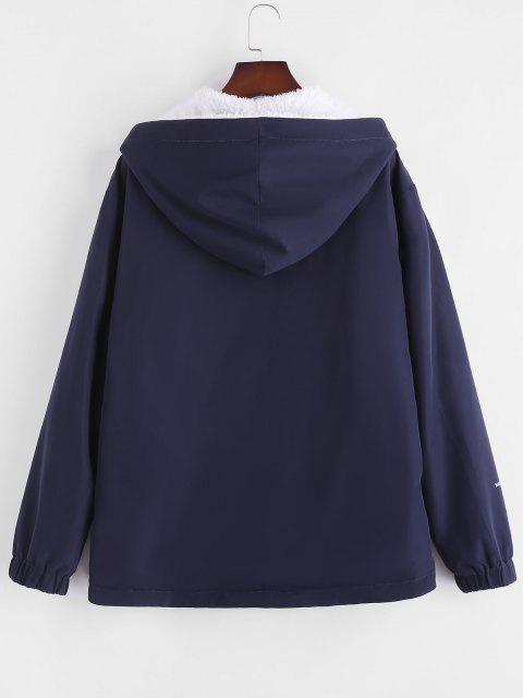 latest Faux Fur Fluffy Letter Print Reversible Hooded Jacket - DEEP BLUE M Mobile
