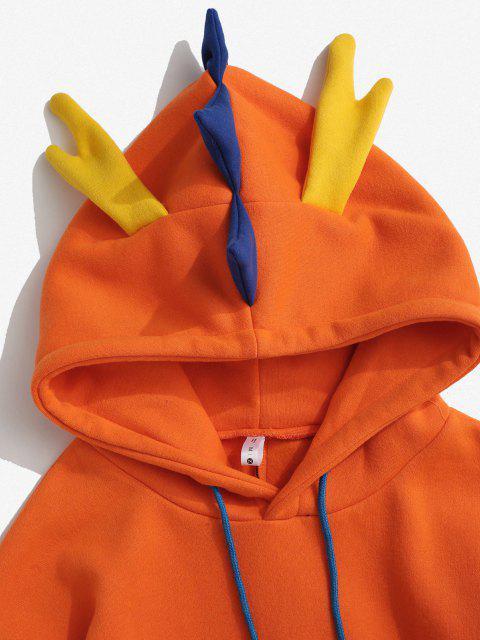 affordable Fleece Lined Colorblock Dinosaur Hoodie - ORANGE L Mobile
